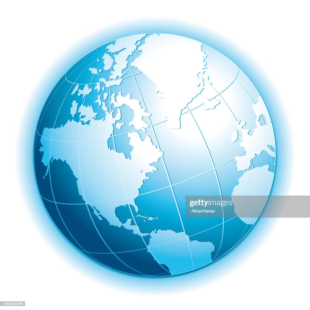 Realistic 3d globe. Ecology, travel, exchange or connectivity vector icon with halo.