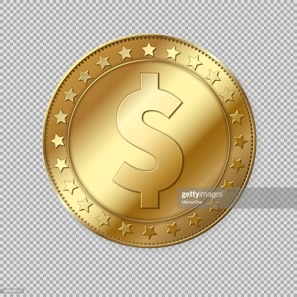 Realistic 3d gold dollar coin isolated