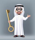 Realistic 3D Handsome Saudi Arab Man Character Wearing