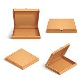 Realistic 3d isometric pizza cardboard box