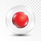 Realistic 3D shiny red ball inside transparent glass sphere vector illustration symbol template