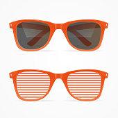 Realistic 3d Sunglasses Striped Red and Black Retro Concept. Vector