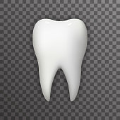 Realistic 3d Tooth Poster Transperent Stomatology Icon Template Background Mock