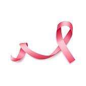 Realistic 3d wavy pink satin ribbon icon of breast cancer symbol.