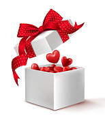 Realistic 3D White Gift Box with Balloon Hearts Inside