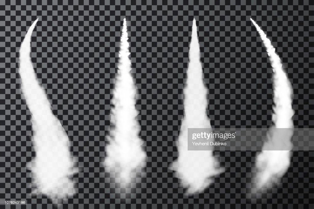 Realistic airplane condensation trails. Smoke from jet or rocket launch. Set of smoke contrails