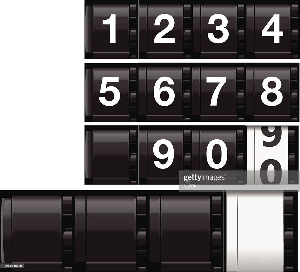 Realistic Analog Odometer or Countdown Timer (Vector) : Stock Illustration