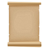 Realistic ancient opened scroll of papyrus . Vector.