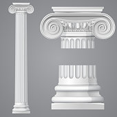 Realistic antique ionic column isolated