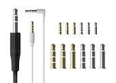 Realistic audio mini jack plug set. Isolated vector illustration of white connector.