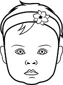 Realistic baby face icon. Isolated vector illustration on white background.