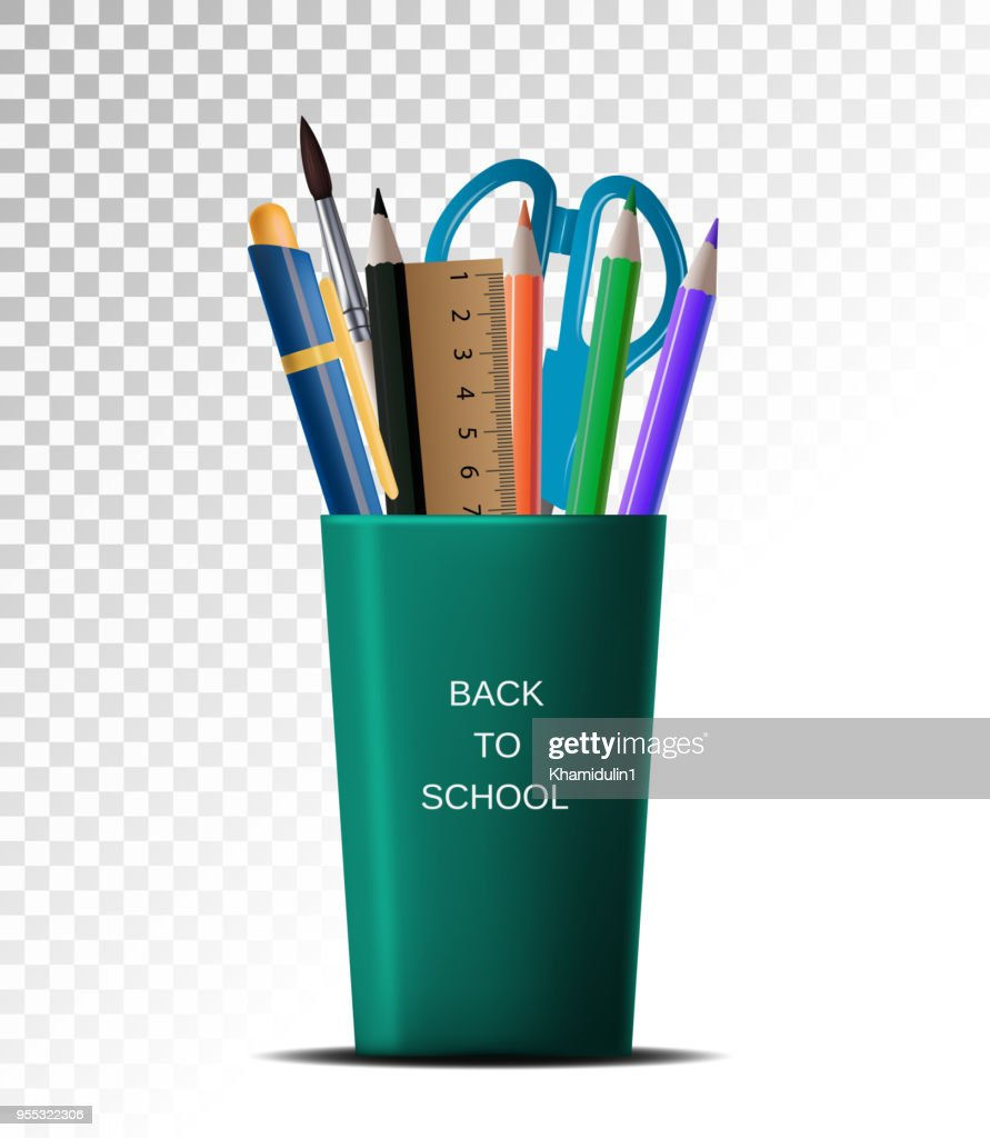 3D Realistic Back to school. School supplies in a cup on a white background transparent isolation