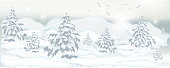 realistic banner of winter trees, pines and white snow for design