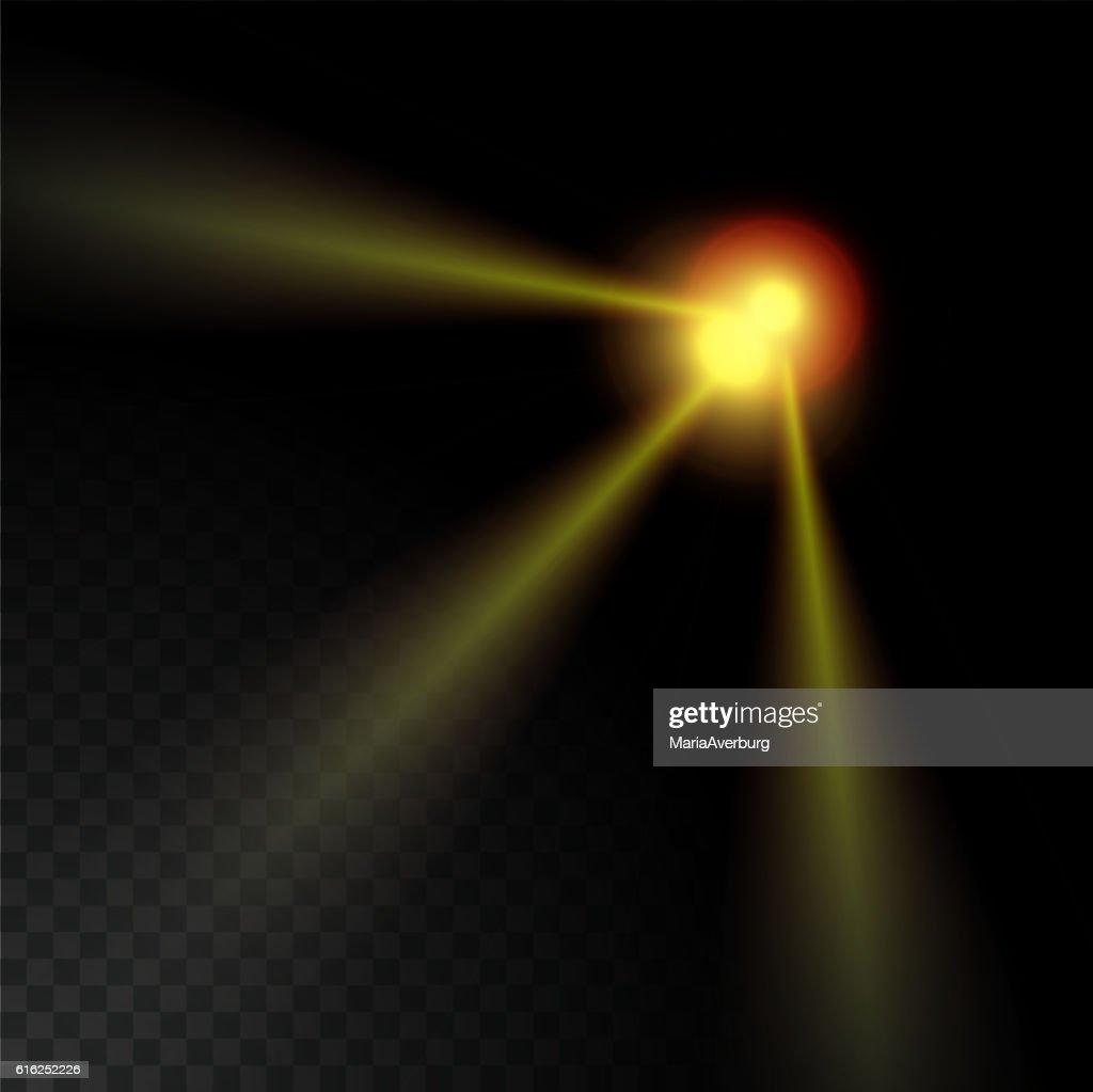 Realista haz luces sobre fondo transparente. : Arte vectorial