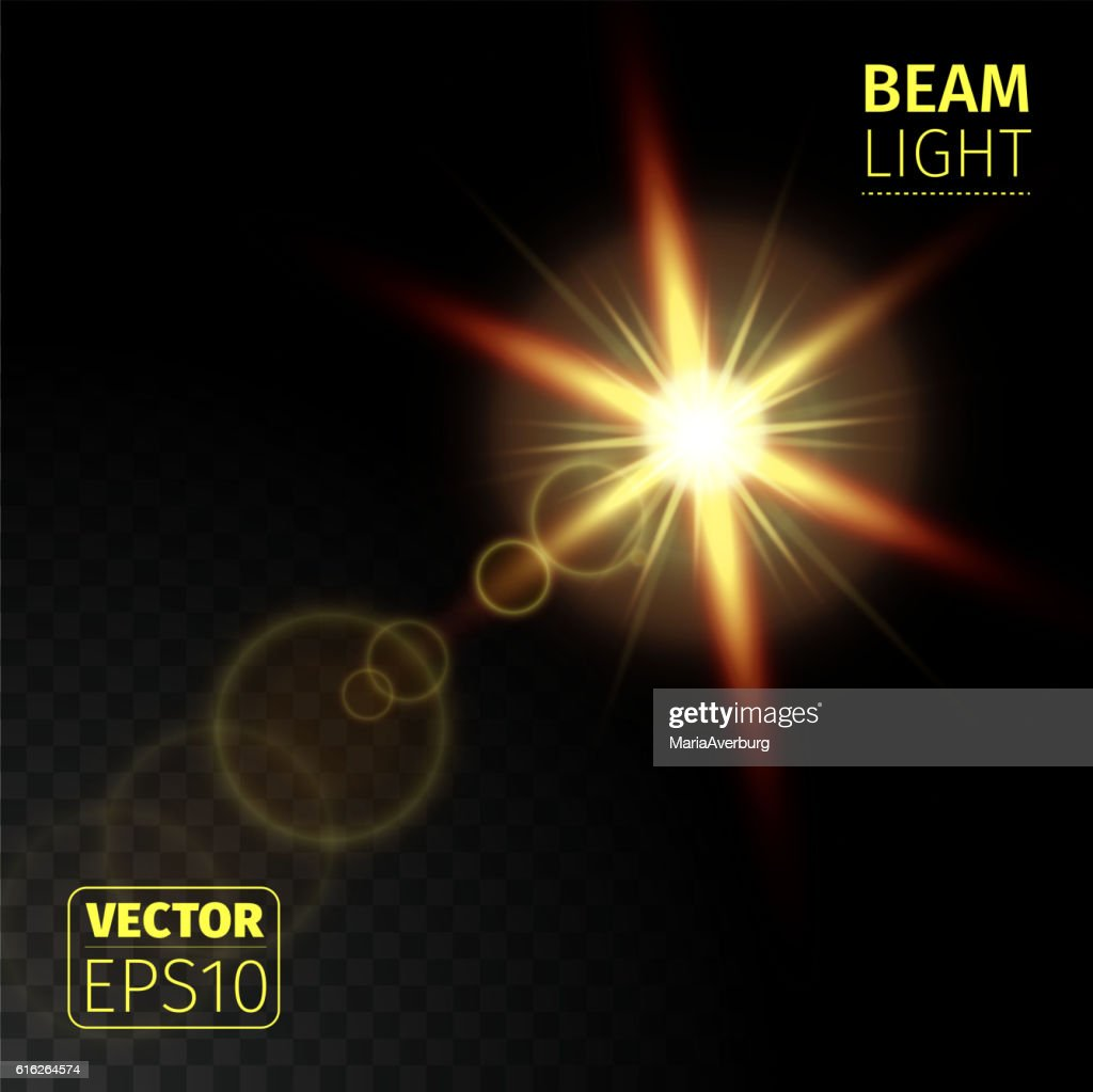 Realistic beam lights on transparent background. : Vector Art