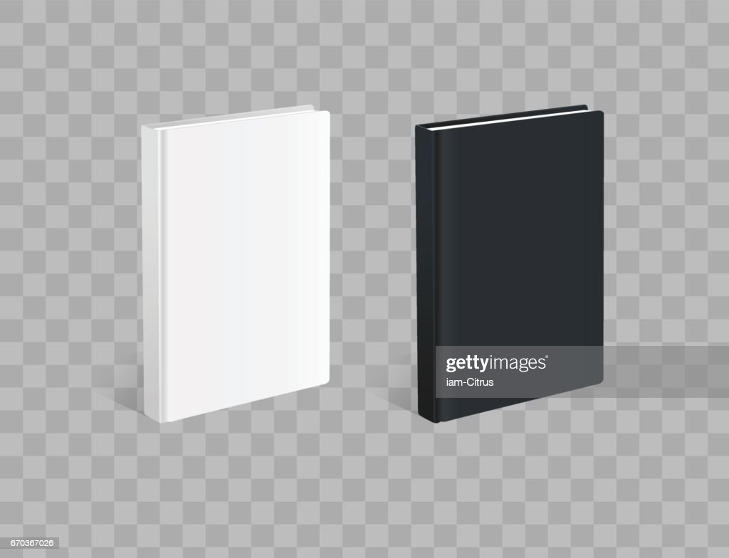 Realistic black and white books on the checkered background