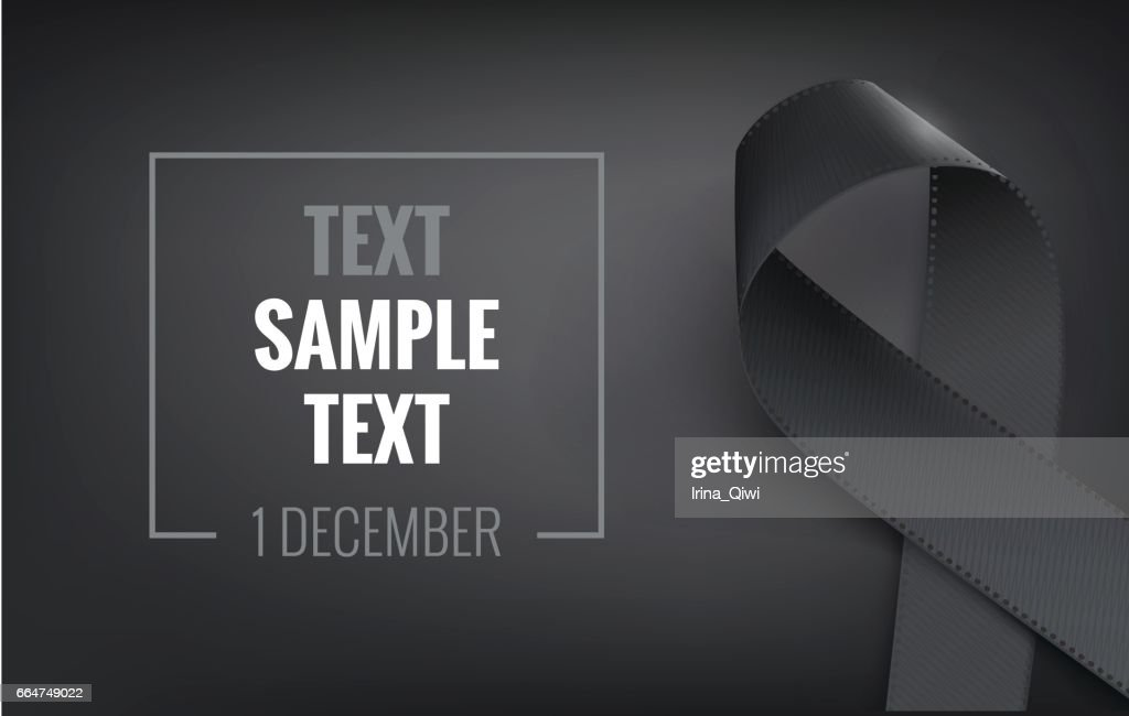 Realistic black awareness ribbon, isolated on white.