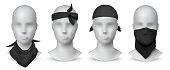 Realistic black bandana. Handkerchief or buff on white mannequin, biker blank head scarf or bandage template. Vector mockup set