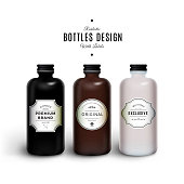 Realistic Black, Brown and White Vector Bottles with Vintage Labels