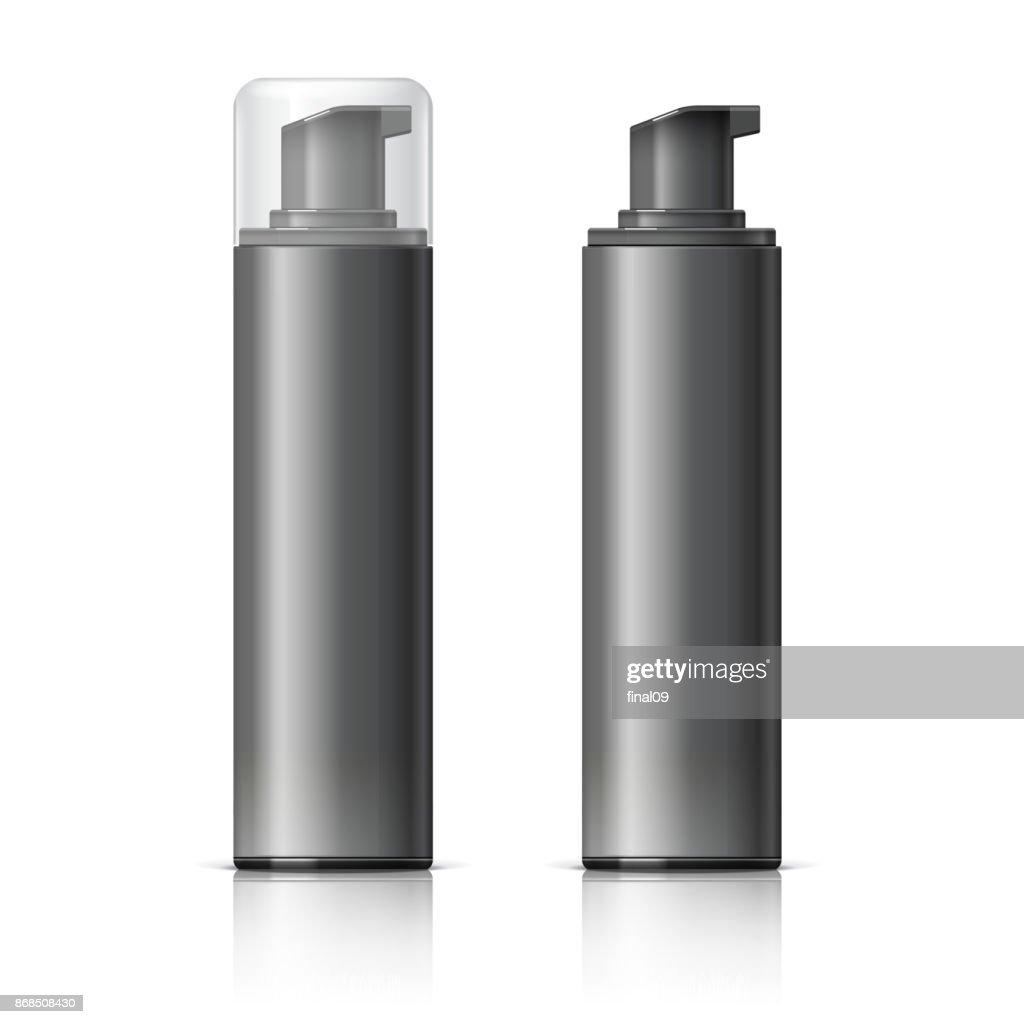 Realistic Black Cosmetics bottle can Spray