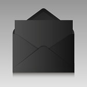 Realistic black envelope isolated on a background. Vector illustration.