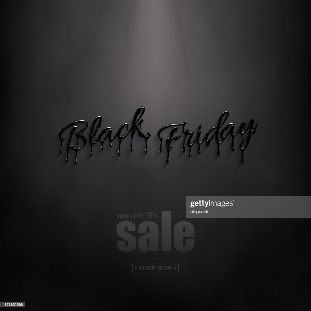 Realistic Black Friday 3d lettering with black liquid droplets and discount text. Vector design for sale banners and posters. Black Friday Sale design template.