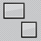 Realistic blank glass picture or photograph frame. Vector.