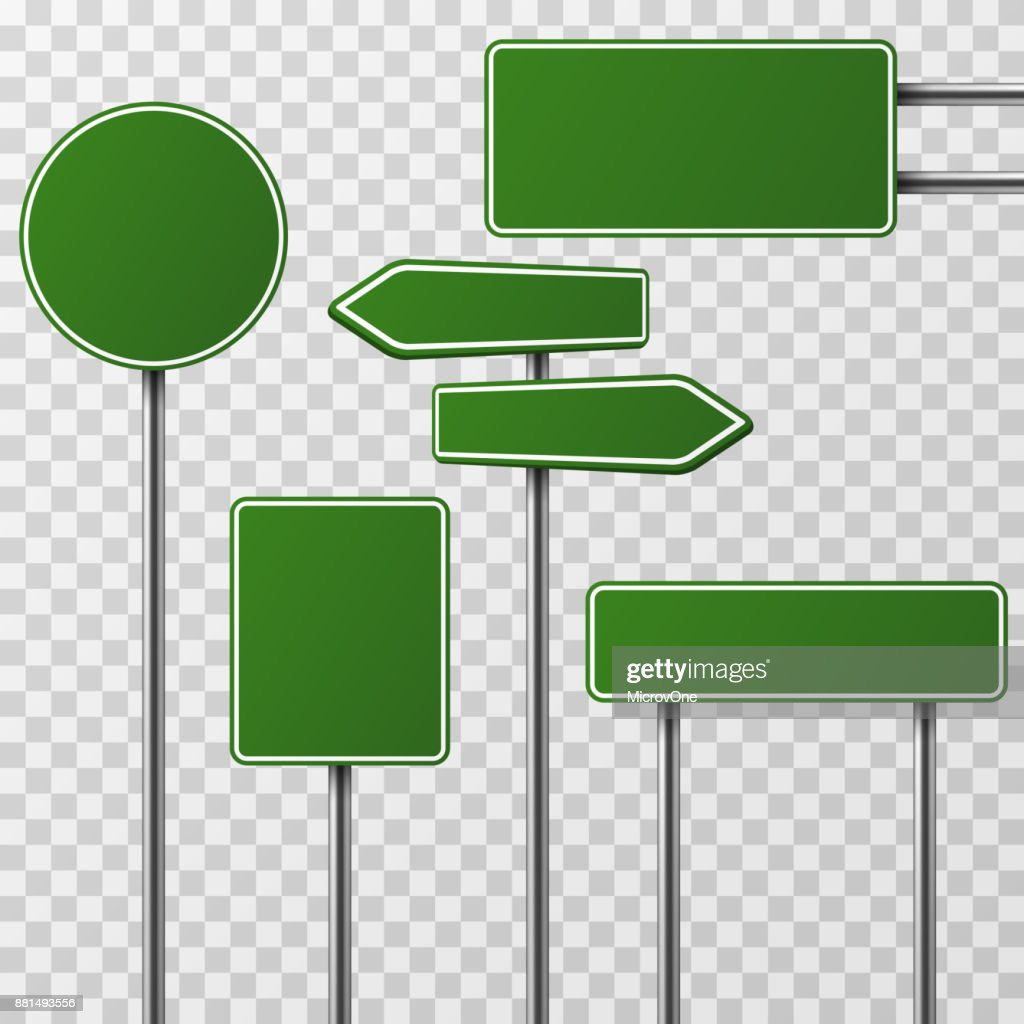 Realistic blank green street and road signs isolated vector set