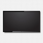 Realistic Blank Led TV Screen on Transparent Background. Vector