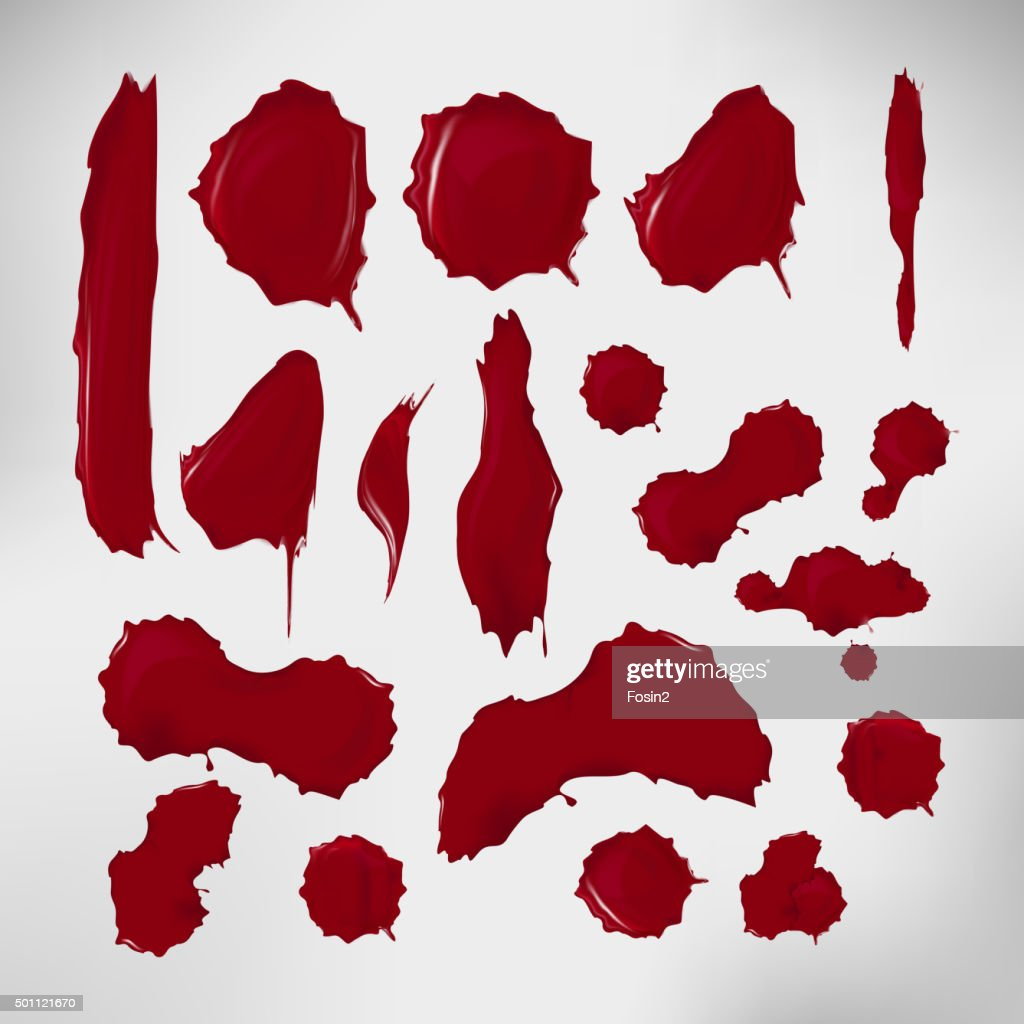 Realistic blood drops set. Vector illustration of assorted red ink