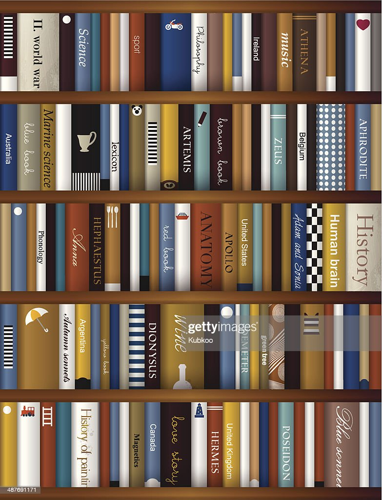 Realistic book shelf. Interior design.