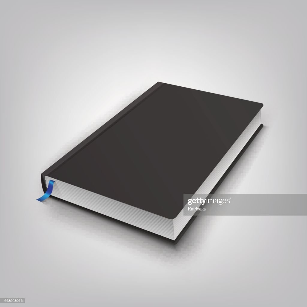 Realistic book with black cover. Mock Up of books. Vector illustration