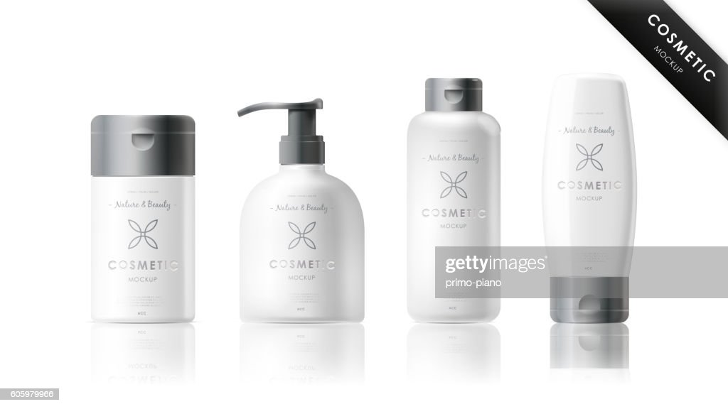 Realistic bottle set. Cosmetic brand template