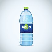 Realistic bottle with clean blue water isolated