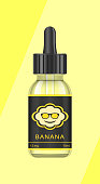 Realistic bottles mock up with tastes for an electronic cigarette with different fruit flavors. Dropper bottle with liquid for Vape. The taste of banana. Vector illustration.