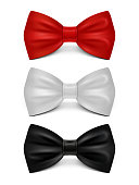 Realistic bows isolated on white background - classic bow tie set