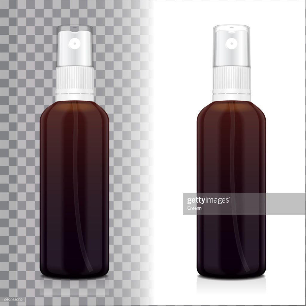 Realistic brown bottle with atomizer. Mock up bottle cosmetic or medical vial, flask, flacon 3d illustration