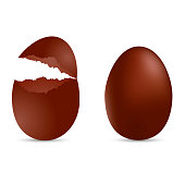 Realistic brown egg with cracked effect. Vector illustration.