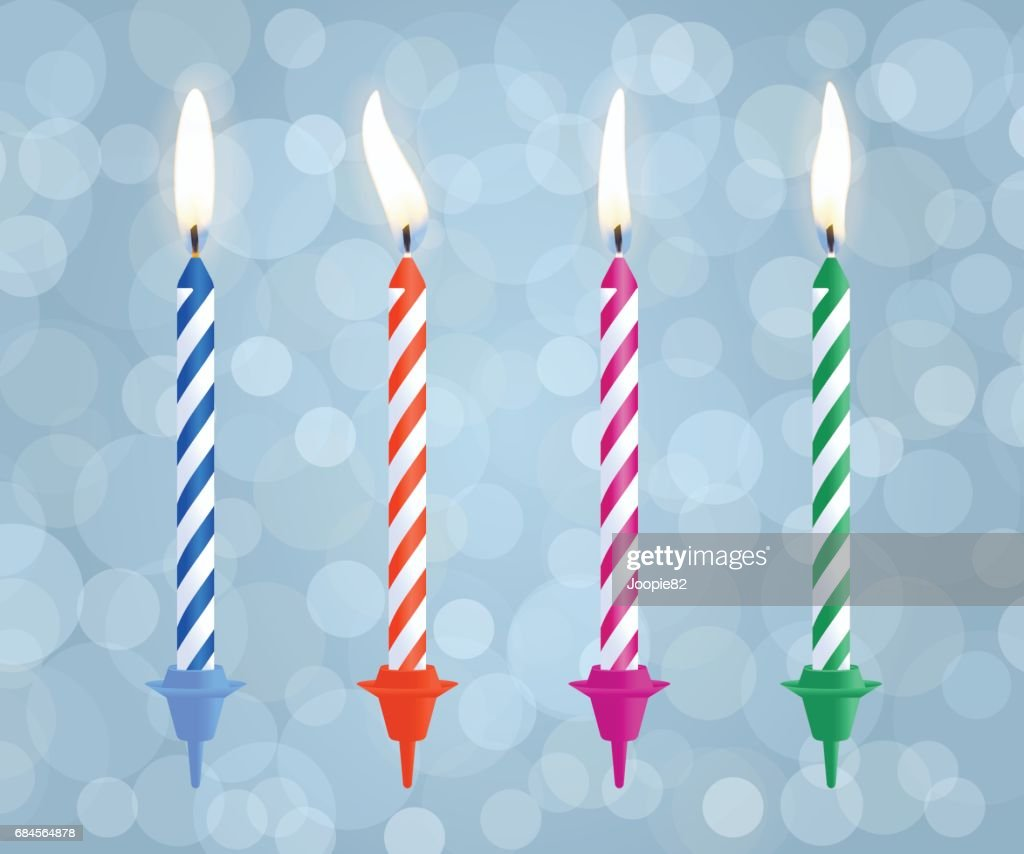 Realistic Burning Birthday Cake Candles Set Isolated On Bokeh Background Vector Illustration