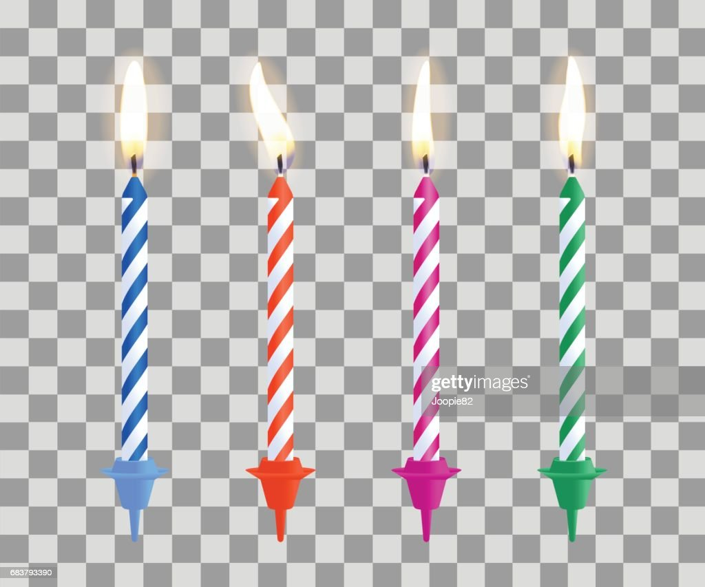 Realistic burning birthday cake candles set isolated on transparent checkered background. Vector illustration.