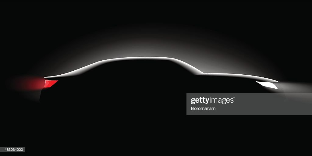 realistic business car silhouette in the dark