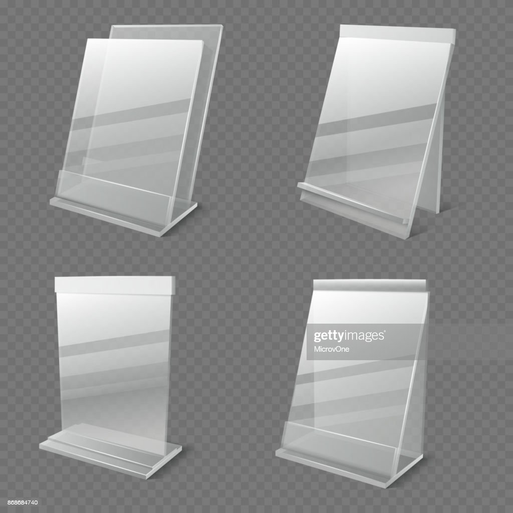 Realistic business information transparent plexiglass empty holders isolated vector