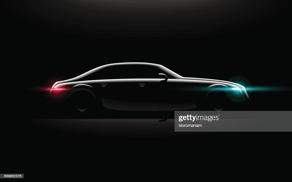 Realistic business luxury prestige car lit in the dark