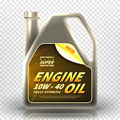 Realistic canister with engine oil