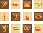 Realistic Car Parts and Services icons over brown background