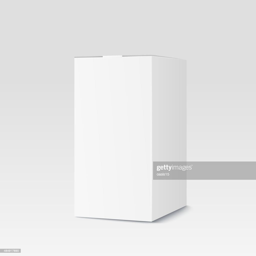 Realistic cardboard box on white background. White container, packaging