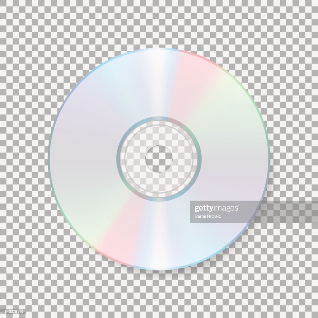 Realistic cd icon. Compact disc isolated on transparent background. CD Vector illustration.