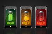 Realistic Charging Batteries Phone Set. Vector