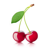 Realistic cherry with a green leaf isolated on white background.