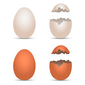 Realistic chicken white and brown eggs with cracked effect. Vector illustration